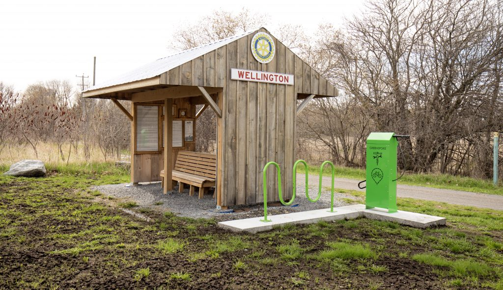 This rest station at the top of West Street is currently the only one on the trail, but plans are to add several more.