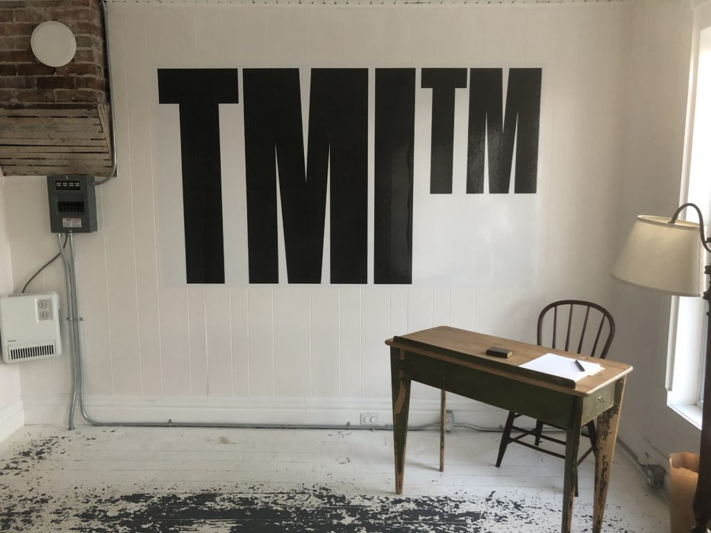 Empty office with large letters on the wall that read TMI TM