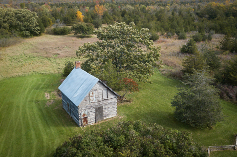 Image of the historic Moses Hudgin log house with a blue roof, in a field with trees around it.